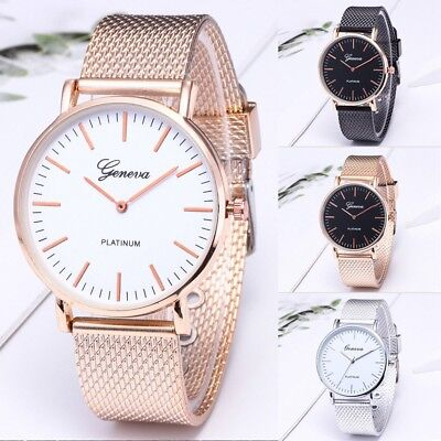 Luxury Women Men Geneva Stainless Steel Analog Quartz Bracelet Wrist Watch