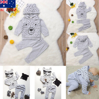 AU Stock Newborn Baby Boy Girl Long Sleeve Tops Romper Pants Outfits Clothes Set