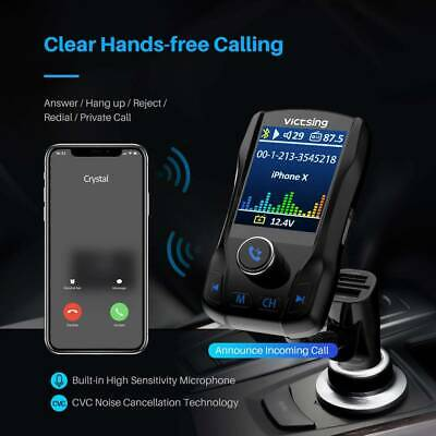 "VicTsing Bluetooth FM Transmitter for Car 1.8""  Hand-Free USB CAR Charger"