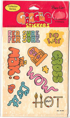 Vintage Paper Art Giggle Sticker Package - 4 Sheets Retro 80's Sayings Fer Sure