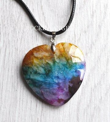 Rainbow Coloured Crackle Agate Heart Pendant Necklace Reiki Healing Ladies Gift