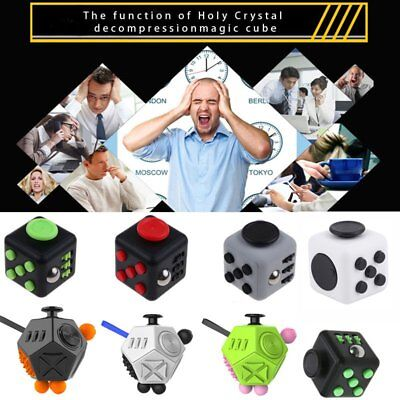 Fidget Kick Cubes Finger Spinner Dice Relief 6 12 Side Toys For Adults Kids GVR~