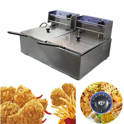 Commercial Deep Fryer Electric - Double Basket - Benchtop - Stainless Steel @Q