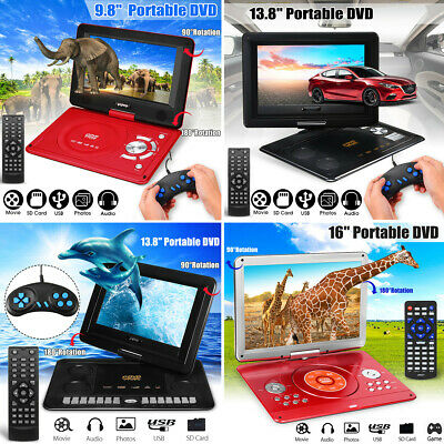 13.8''/16''/17.1'' inch Portable DVD Player EVD TV USB Game Rotate Screen Remote