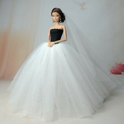 White Wedding Dress Party Dresses For 1:6 Scale new Doll Accessories Beauty Z