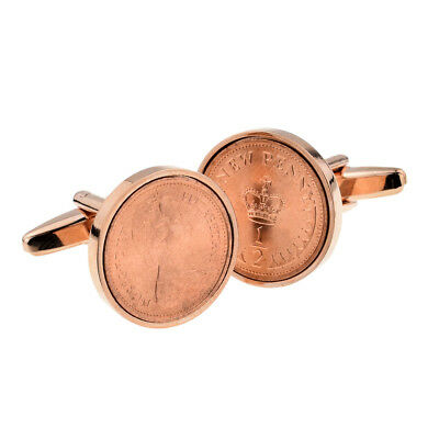 Rose Gold Plated CUFFLINKS Polished Decimal Half Pence Coin Present Gift Box