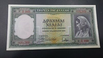 Greece 1000 Drachmai Banknote 1939 Almost Unc