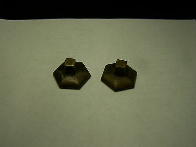 Lot of 2 Vintage Brass Dresser Drawer Pull Back Plates for Swing Handles   #8