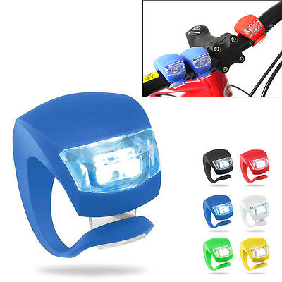 Silicone Bike Bicycle Head Front Rear Wheel LED Flash Light Lamp Cycle Accessory