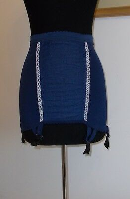 FRENCH VINTAGE 1970s NAVY BLUE GIRDLE WITH SUSPENDERS UNWORN OLD STOCK