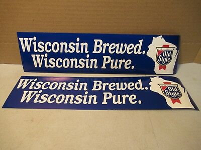 Old Style Beer Bumper Sticker NOS Lot of 2 Wisconsin Car Truck Bar Mancave