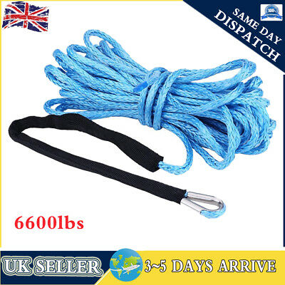 6600LBS Winch Synthetic Rope Cable Thimble Sleeve for Recovery Winch 50ftx6.5mm