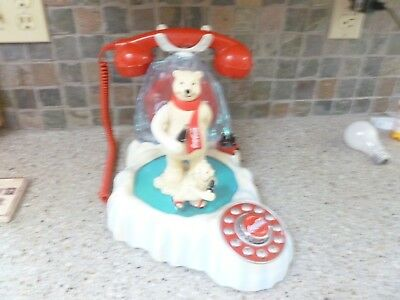 Vintage Coca-Cola Animated Skating Polar Bear with Music Phone ~ works great!
