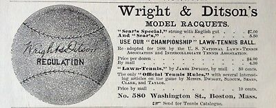 1888 Ad (1800-21)~Wright & Ditson Lawn Tennis Racquets And Ball
