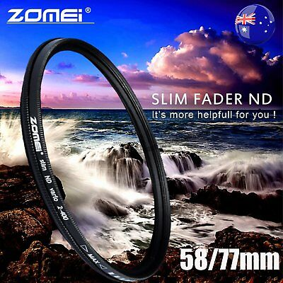 ZOMEI 58/77mm Neutral Density Fader Adjustable Variable ND Filter ND2,ND4-400 HC