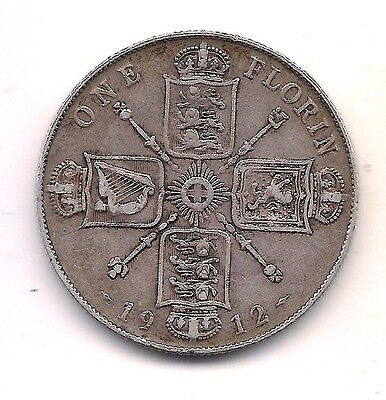 1912 Great Britain Silver Florin--Very Strong Details !!