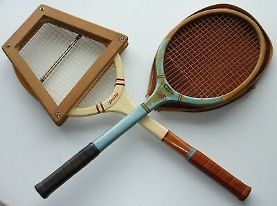 Pair of Antique Tennis Racquets. Good Condition with Press and Cover. Circ. 1960