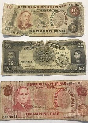 Lot of 3 PILIPINAS PHILLIPINES BANKNOTE 1949 50,20&10 PISO LIMAMPUNG OSMENA