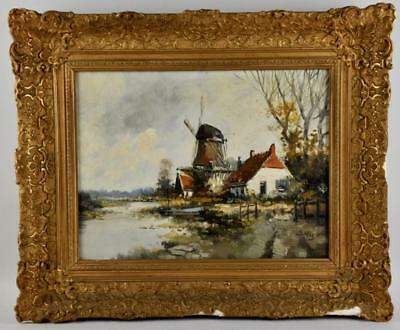 Vintage Dutch Painting Oil on Canvas Holland Scene w/Windmill by J.Vos c.1970s