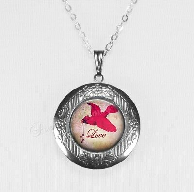 CARDINAL Red Bird Locket Necklace, Cardinal Lover Gift Memorial