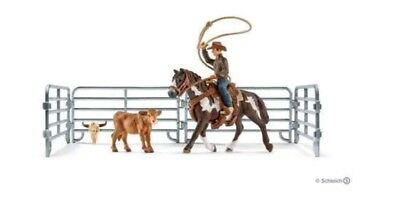 Schleich Farm World Rodeo Series 41418 NEW Cowboy Horse Lasso Fence Saddle Cow