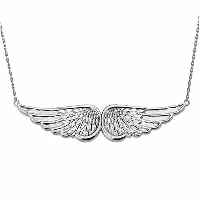 Solid 14k White Gold Angel Wings Necklace