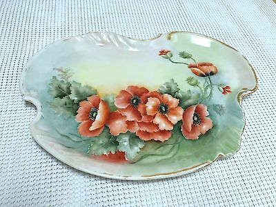 Antique Limoges Opium Poppies Porcelain Plate Tray Signed Vtg
