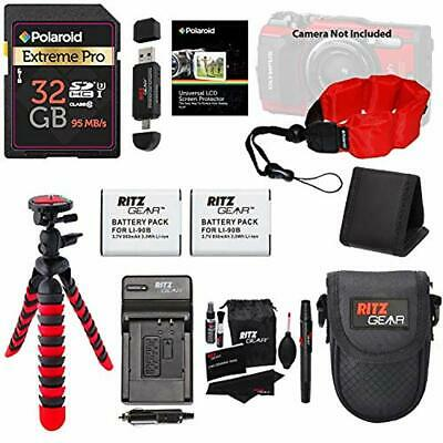Replacement Battery & Charger Bundle for Olympus TG5 Includes 32GB SD Card +More