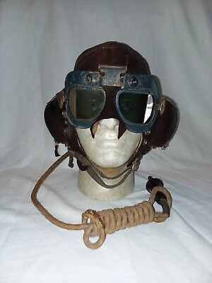 WWII RAF Type C Leather Flying Helmet (Goggles NOT included) *ORIGINAL/RARE*