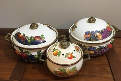 Vintage Enamel Cookware Pots & Covers Brass Handles Garden Vegetable Design