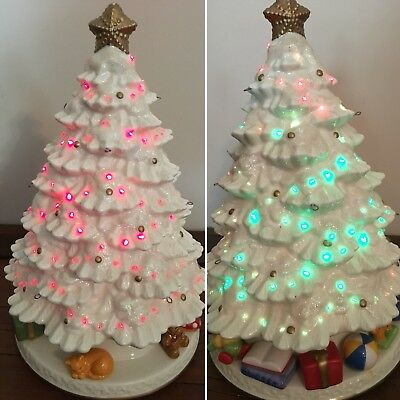 Small Vintage White Ceramic Christmas Tree Red Green Lights Toys Around Base