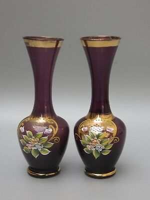 Murano Italian Purple & 24% Gold Enamel Hand Painted Vases Set Of 2