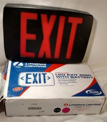 LED exit sign with battery backup red & black extra faceplate Lithonia Quantum