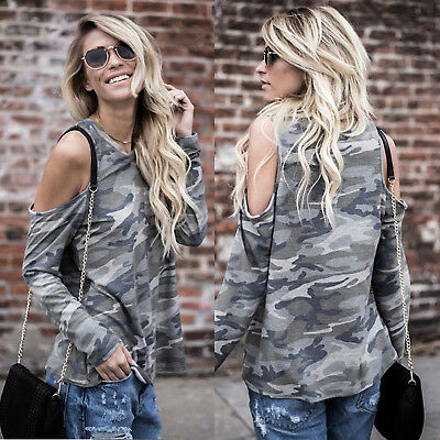 Womens Camo Cold Shoulder Long Sleeve Ladies Casual T-Shirt Tops Blouse Hoodie