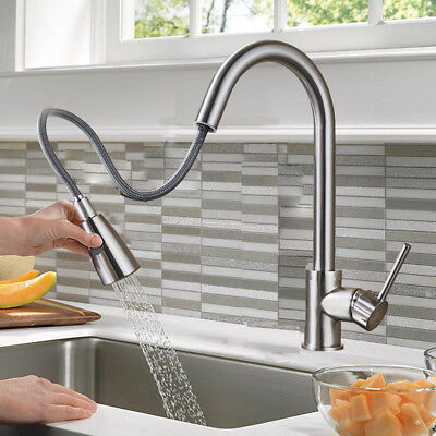 Brushed Nickel Pull out Sprayer Kitchen Sink Faucet Single Level Stainless Steel