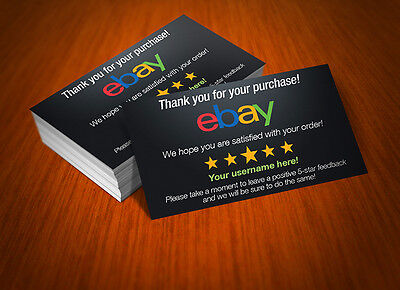 2500 Custom Printed Full Color eBay Seller ID Thank You Cards w/Your USER ID!