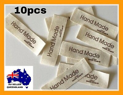 WOVEN LABELS 10pcs, Clothing Label, DIY, Cloth Label, Handmade With Love Label