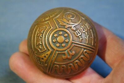 ONE Vintage Eastlake Style Pattern Aged Cast Bronze Door Knobs Beautiful Patina