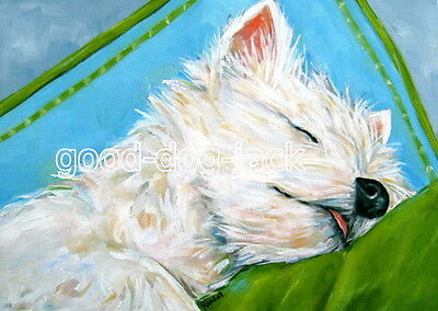 """West Highland Terrier ACEO WESTIE PRINT Painting """"ICE CREAM DREAMS"""" Art RANDALL"""