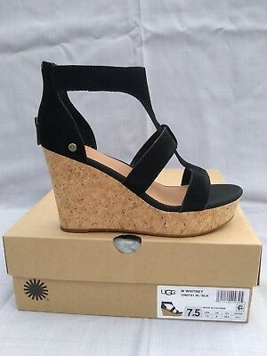 c7d0f357d32 UGG AUSTRALIA WHITNEY CORK WEDGE, WOMENS: U.S 7.5, COLOR:BLACK,1090791