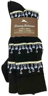 NEW Tommy Bahama 4 Pair Mens Socks Casual Crew Blue Flamingo Four Pack Size Sz