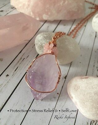 Amethyst Point & Rose Quartz Reiki Charged Pendant. Protection & Selflove