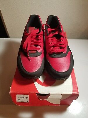 promo code e95c8 4a049 Nike Air Max 1 LTR Leather Premium Gym Red Black 705282-600 Size 8