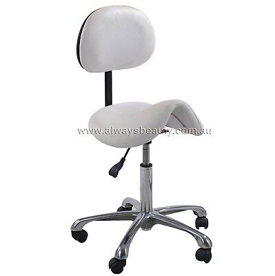 SALON SADDLE STOOL GAS LIFT WITH BACK WIDE SEAT Support Your Back Chair