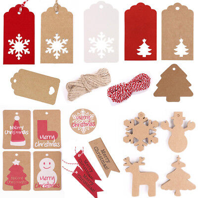 50/100 Kraft Paper Gift Tags Price Christmas Wedding Scallop Label Blank Luggage