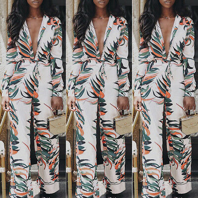 Women's Long Sleeve V Neck Flower Printed Bodycon Clubwear Party Jumpsuit Romper