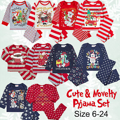Baby Girls & Boys Christmas Pyjama Set Cotton Jersey PJ Babys First Christmas