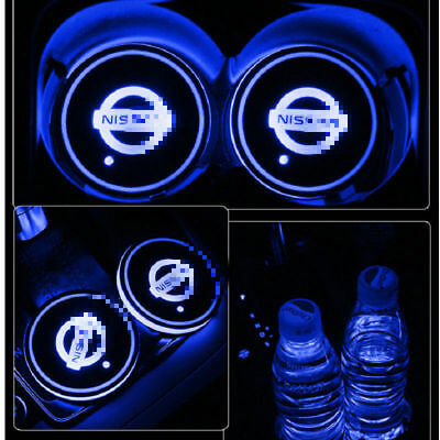 2PCS For Nissan Car Auto Atmosphere Lights Colorful LED Car Cup Holder Pad Mat