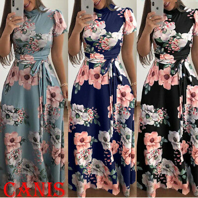 Women's Summer Boho Floral Short Sleeve Long Maxi Dress Party Beach Sundress USA