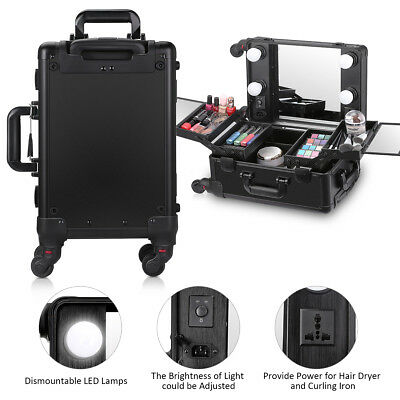 SALE Rolling 4 Wheels Travel Makeup Case LED Mirror Trolley Cosmetic Organizer